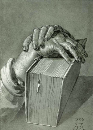 1506 drawing of hands holding a book